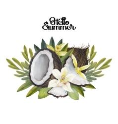 Watercolor vanilla flowers and coconut vector