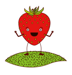 White background with strawberry fruit caricature vector