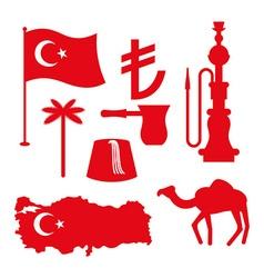 Turkey symbol set Turkish national icon State vector image