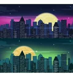 Urban night city skyline in moonlight vector