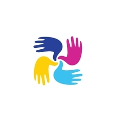 Isolated abstract colorful children hands together vector