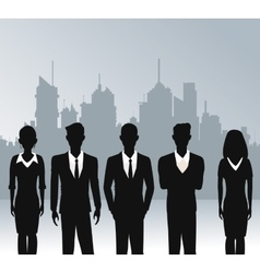 Business people teamwork urban background vector
