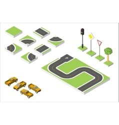 Set isometric road and cars common road vector