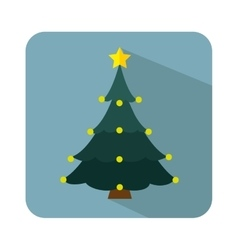 Happy merry christmas tree card vector