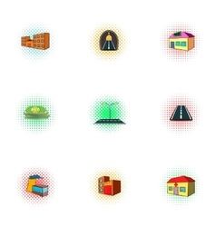 Public building icons set pop-art style vector