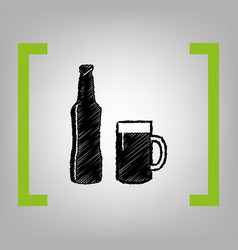 beer bottle sign black scribble icon in vector image