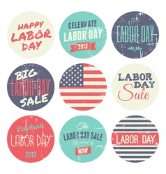 American labor day grunge stickers set vector