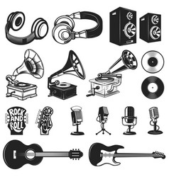 Set of design elements for music labels vector