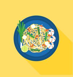 Thai food pad thai stir-fried rice noodle vector