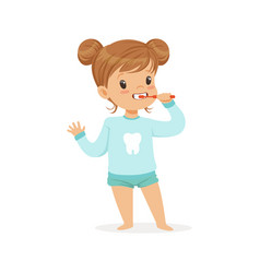 Adorable cartoon girl brushing her teeth kids vector