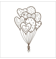Heart air balloons batch vector