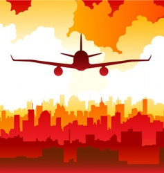 city with airplane vector image