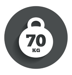 Weight sign icon 70 kilogram kg sport symbol vector