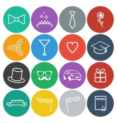 Flat prom icons vector