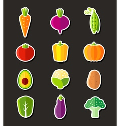 Fresh healthy vegetables flat style icons vector