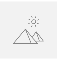 Egyptian pyramids line icon vector