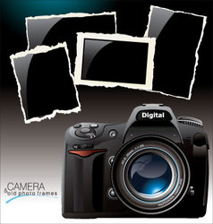 Camera and old photo frames vector