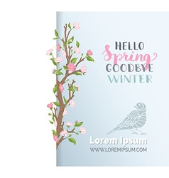 Hello spring paper card template vector
