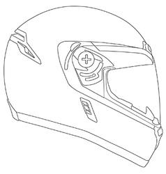 Motor racing helmet vector image
