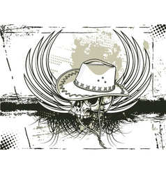 skull with grunge background vector image