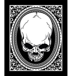 frame with skull retro t-shirt design vector image