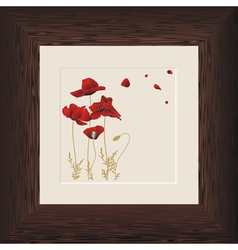 Wood frame poppies vector