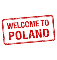 Welcome to poland red grunge square stamp vector