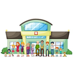 A big family outside the hospital vector image