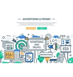 Advertising and Promo - line design website banner vector image