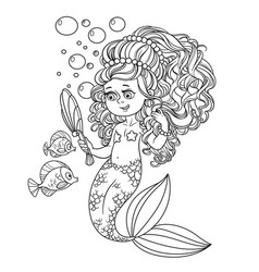 Beautiful mermaid girl pretties herself in front vector
