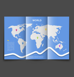 Brochure with world map vector image