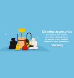 cleaning accessories banner horizontal concept vector image vector image