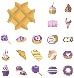Colored icons for desserts vector image vector image