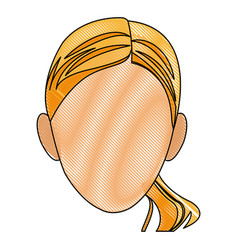 drawing head woman female face vector image