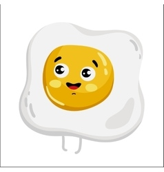 Funny fried egg isolated cartoon character vector image vector image