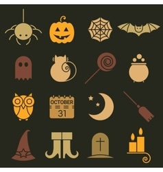 Halloween colorful flat icons set vector