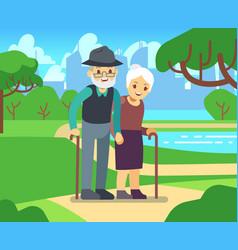 Happy cartoon older female in love outdoors old vector