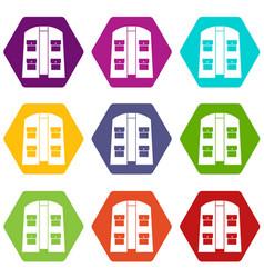 Hunter vest icon set color hexahedron vector