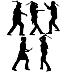 Knife Thrower Silhouette vector image