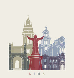 lima skyline poster vector image vector image