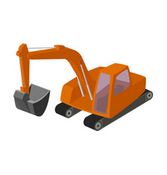 orange excavator with a bucket machine for mine vector image