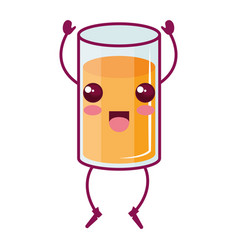 orange juice glass kawaii character vector image vector image
