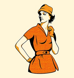 retro fashion girl vector image vector image
