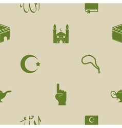 Seamless background with islamic icons vector