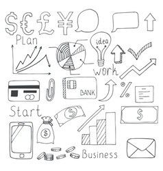 Set of hand drawn business elements vector image vector image