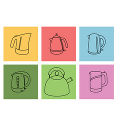 set of kitchen appliances electric kettle vector image