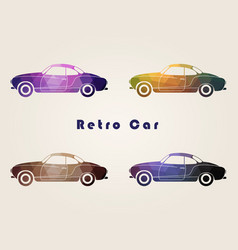set of the retro multicolor car icons vector image