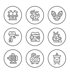 set round line icons of motor and engine vector image vector image