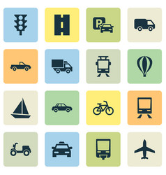 Shipment icons set collection of way streetcar vector