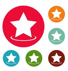 star icons circle set vector image vector image